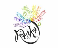 Energia Reiki. Logotype. Energia di guarigione Fiore dell'arcobaleno dai palmi dell'uomo. Medicina alternativa. Pratica spirituale Vettore.