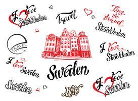 Svezia. Set di elementi per il design. Stoccolma. Uno schizzo dell'architettura. Lettering ispiratore. Modelli. Vettore.