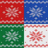 Modello senza soluzione di continuità Tessuto a maglia. Fiocco di neve ornamentale. Lana. Arredamento invernale Rosso. Vettore.