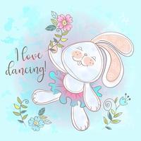 Divertente simpatico coniglietto che balla. Adoro ballare. Il vettore di iscrizione