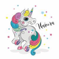 Unicorno magico Pony fata Criniera arcobaleno. In stile cartoon. Vettore.