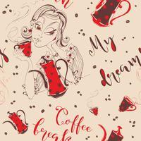 Modello senza soluzione di continuità La ragazza beve il caffè Pausa caffè. Il mio sogno. Lettering elegante. Caffettiera e tazza di caffè. Chicco di caffe. Vettore.