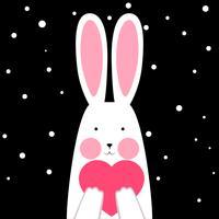 Coniglio felice, sveglio, divertente con cuore - illustrazione di inverno. vettore