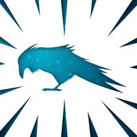 Icona di carta corvino su sfondo bianco.