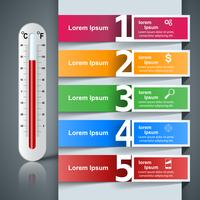 Infografica affari termometro. Icona di salute.