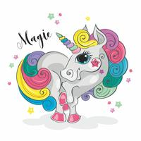 Unicorno magico Pony fata Criniera arcobaleno. In stile cartoon. Vettore. vettore