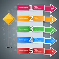 Modello di progettazione infografica strada e icone di marketing. vettore