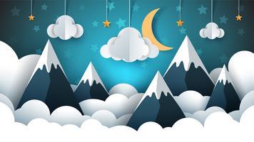Illustrazione di carta paesaggio di montagna. Nube, stella, luna, cielo.