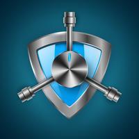 Sicurezza, guardia, scudo - icona realistica 3d vettore