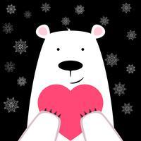 Divertente simpatico orso polare con cuore.