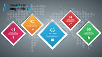 Infografica di affari Cinque oggetti di carta.