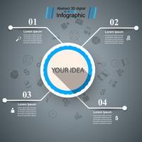 Illustrazione digitale 3D astratta Infographic. vettore