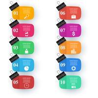 Design infografico Elenco di 10 articoli. Clip, icona pin.