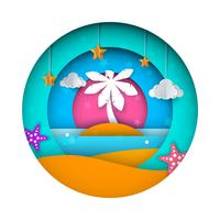 Spedisca, paesaggio di carta, mare, nuvola, illustrazione del fumetto della stella. vettore