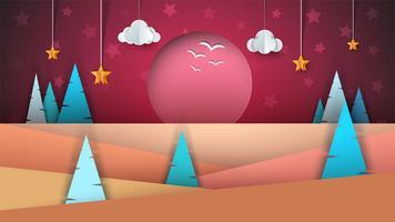 Paesaggio di carta dei cartoni animati. Sole, abete, nuvola, stella. vettore