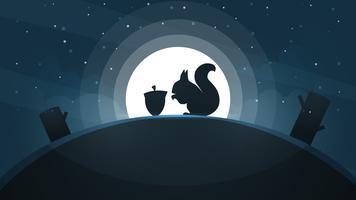 Paesaggio di carta dei cartoni animati. Illustrazione scoiattolo Albero, stella, collina, luna. vettore