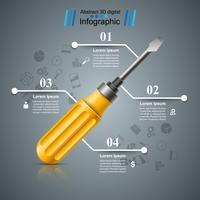 Chiave inglese, cacciavite, icona di riparazione. Infografica di affari