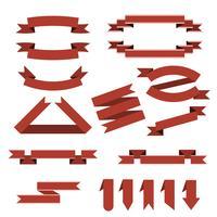 Insieme di vettore di nastri rossi, segnalibri in stile piano