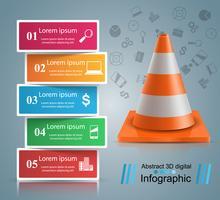 Modello di progettazione infografica riparazione stradale e icone di marketing. vettore