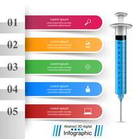 Salute, icona della siringa. Infografica medica 3D. vettore