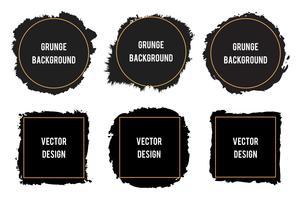 Macchie di inchiostro nero pennello macchia, pennellate, striscioni, bordi