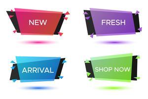 Set di badge geometrici, cornici creative colorate per testo pubblicitario vettore