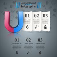 Icona realistica del magnete. Infografica di affari vettore