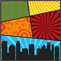 Modelli di copertina di una pagina di fumetti pop art con silhouett di città