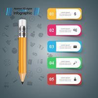 Matita, icona di educazione. Infografica di affari vettore