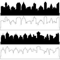 Siluette nere e lineari della città, insieme di vettore di paesaggi urbani orizzontali neri differenti