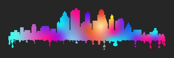 Le macchie variopinte del fumetto di vettore hanno stilizzato la siluetta di paesaggio urbano