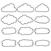 Insieme di vettore delle icone di linea di nuvola differenti