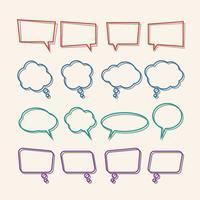 Bolla di discorso lineare con set di icone di ombre