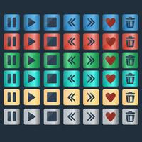 Insieme di vettore delle icone di pulsanti lucido per il web design