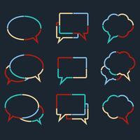 Il discorso bolle icone lineari di linee tratteggiate colorate vettore
