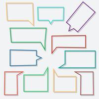 Il discorso bolle icone lineari in rettangolo di forma con le ombre