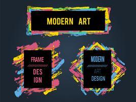 Insieme di vettore di cornici e banner per testo, grafica di arte moderna, stile hipster