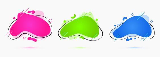 Stile liquido, insieme vettoriale di forme geometriche creative semplici, cornici modello isolato mockup o bordi