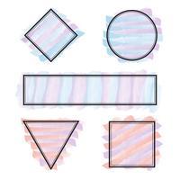 Insieme di vettore di cornici forme diverse con pennellate di colori pastello