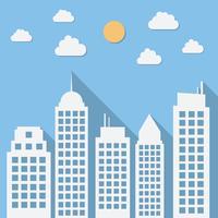 Paesaggio urbano di giorno di carta con lunghe ombre vettore