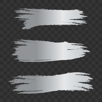 Tratti di pennello con texture argento grigio, set vettoriale