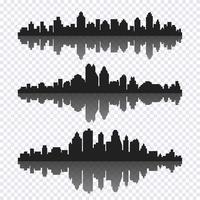 Insieme di vettore di diverso paesaggio urbano orizzontale nero con la riflessione