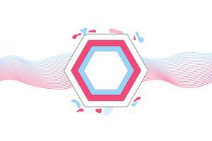 Banner geometrico moderno con forme piatte, colori rosa e blu alla moda