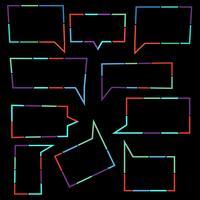 Insieme delle bolle di discorso icone lineari di linee tratteggiate colorate vettore