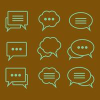 Insieme di bolle di discorso di icone lineari vettore