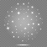 Insieme di vettore delle stelle, effetto dei chiarori bianchi su fondo trasparente