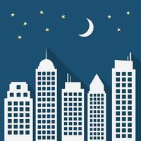 Paesaggio notturno di carta urbana con lunghe ombre vettore