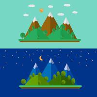 Illustrazione vettoriale del paesaggio di natura con montagne in stile piano
