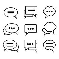 Set di icone lineari di discorso bolla vettore