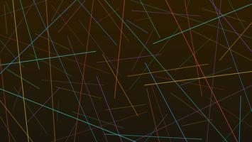 Struttura caotica casuale variopinta delle linee su fondo nero